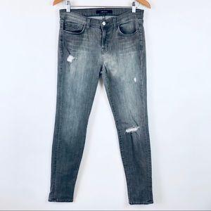 J Brand 811 Mid Rise Distressed Skinny Jeans Gray